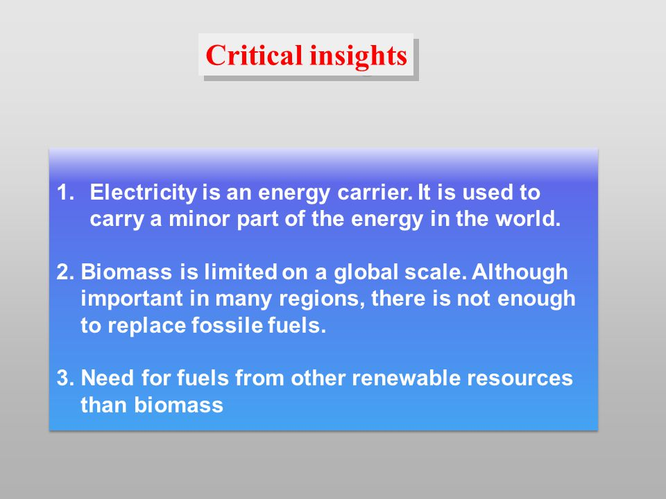 1.Electricity is an energy carrier. It is used to carry a minor part of the energy in the world.