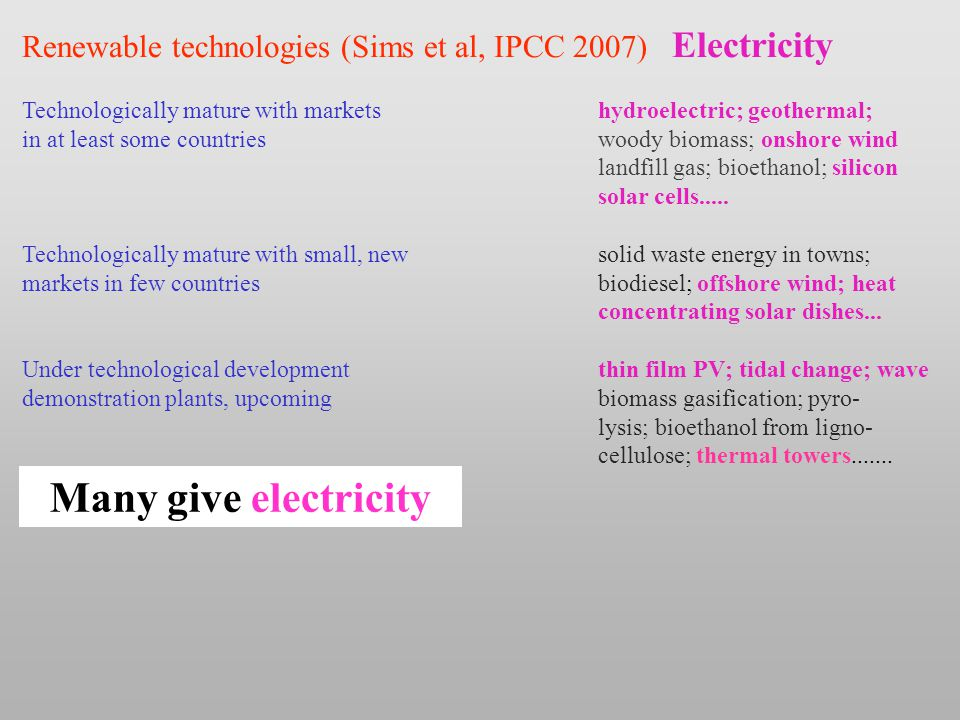 Renewable technologies (Sims et al, IPCC 2007) Electricity Technologically mature with marketshydroelectric; geothermal; in at least some countrieswoody biomass; onshore wind landfill gas; bioethanol; silicon solar cells.....