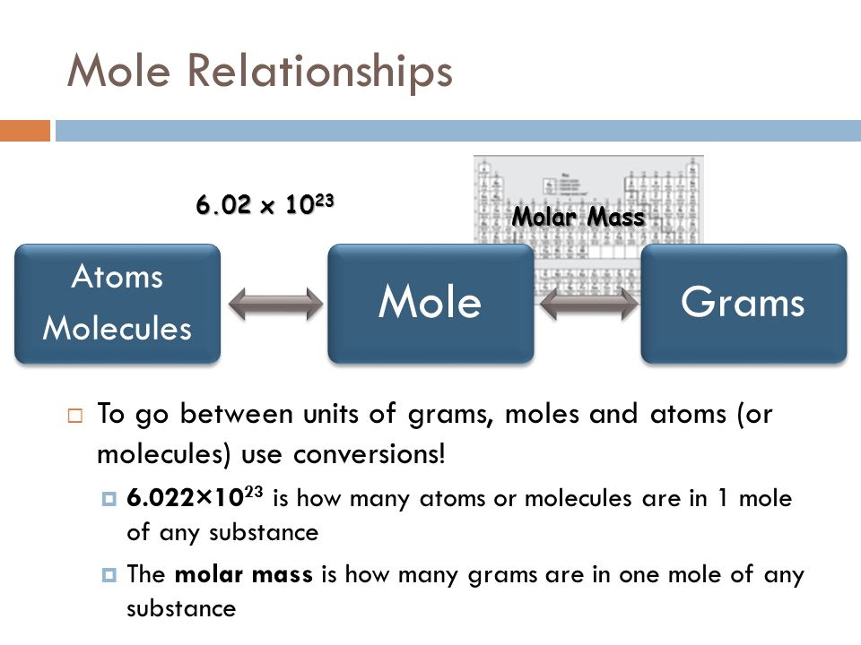 Atoms Molecules Mole Grams Mole Relationships 6.02 x 10 23 Molar Mass  To go between units of grams, moles and atoms (or molecules) use conversions!