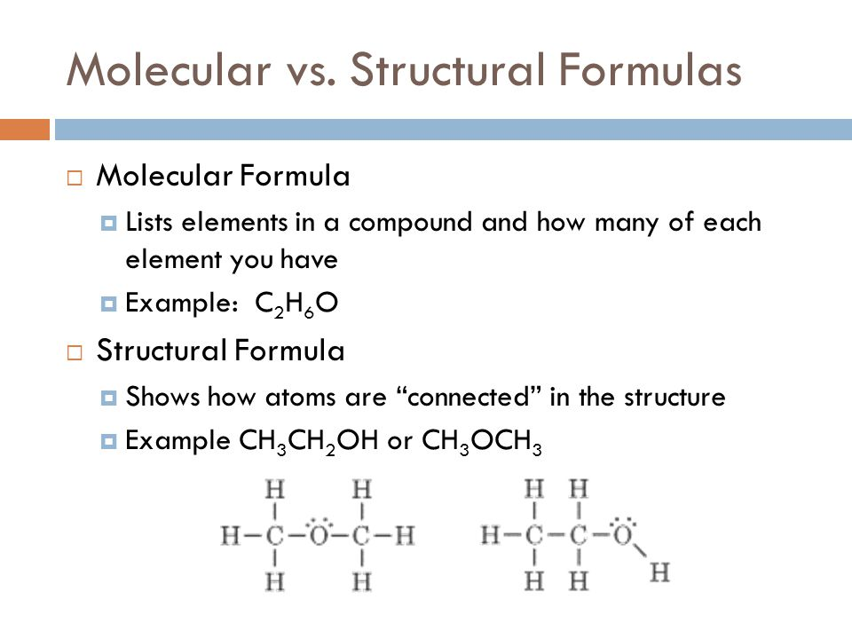 Molecular vs. Structural Formulas  Molecular Formula  Lists elements in a compound and how many of each element you have  Example: C 2 H 6 O  Stru