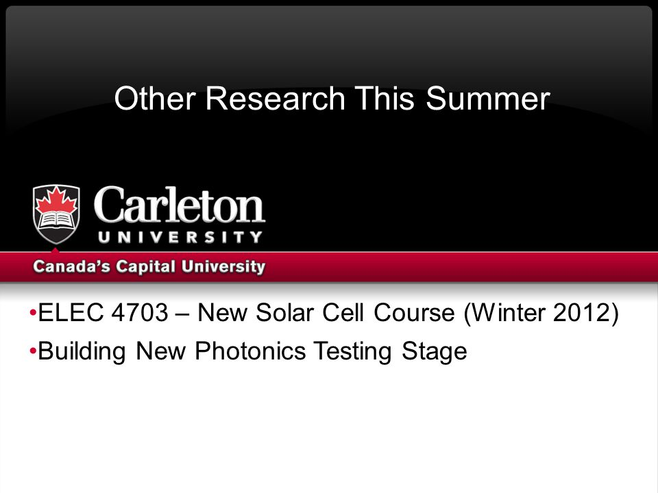 Other Research This Summer ELEC 4703 – New Solar Cell Course (Winter 2012) Building New Photonics Testing Stage