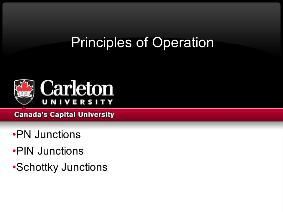 Principles of Operation PN Junctions PIN Junctions Schottky Junctions