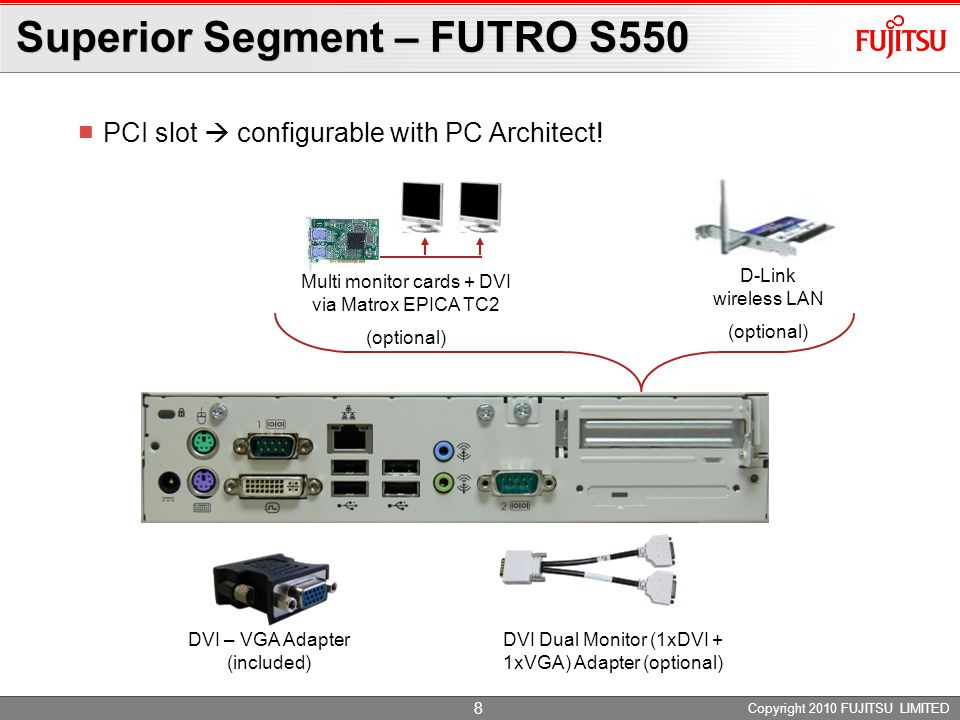 Copyright 2010 FUJITSU TECHNOLOGY SOLUTIONS Product description Compact, reliable and low power consumption No fan or rotating parts Reliable, fail-safe and silent Dual-monitoring optional ENERGY STAR® compliant Technology AMD Sempron 200U Dual DVI optional Lean configuration (DDR2: 1 GB/ CF: 512 MB) eLux® RL Advanced Segment - FUTRO S450-2 For datasheet click on photo 9