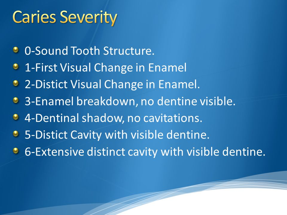 0-Sound Tooth Structure. 1-First Visual Change in Enamel 2-Distict Visual Change in Enamel. 3-Enamel breakdown, no dentine visible. 4-Dentinal shadow,