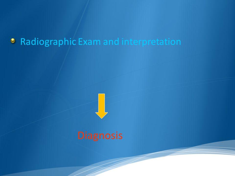 Radiographic Exam and interpretation Diagnosis