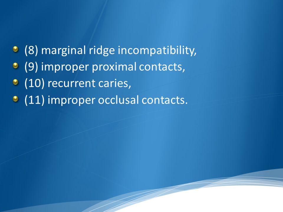 (8) marginal ridge incompatibility, (9) improper proximal contacts, (10) recurrent caries, (11) improper occlusal contacts.
