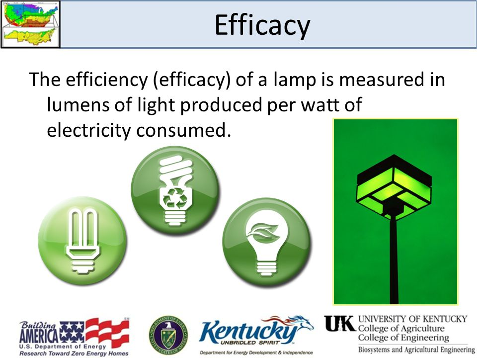 Efficacy The efficiency (efficacy) of a lamp is measured in lumens of light produced per watt of electricity consumed.