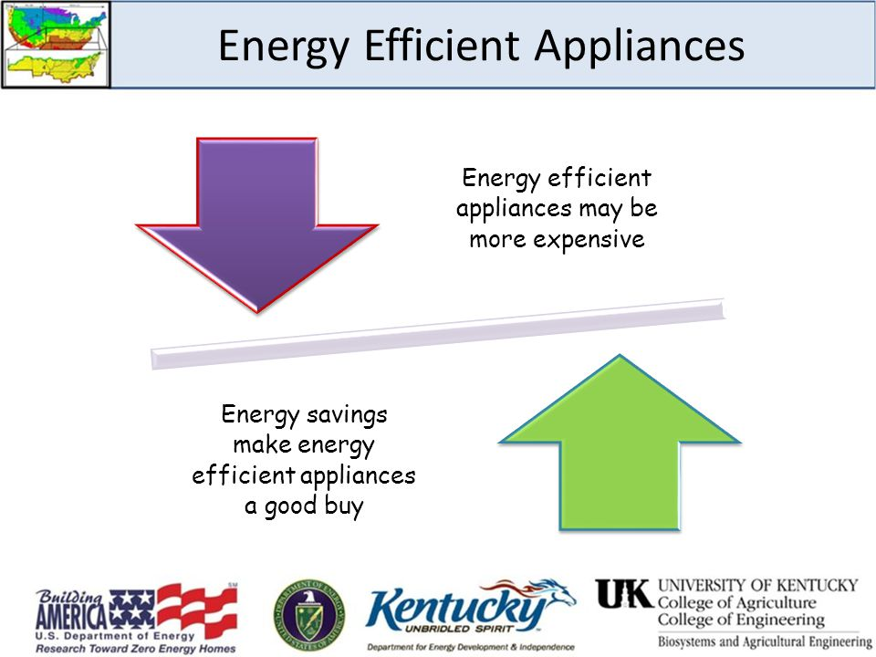 Energy Efficient Appliances Energy efficient appliances may be more expensive Energy savings make energy efficient appliances a good buy