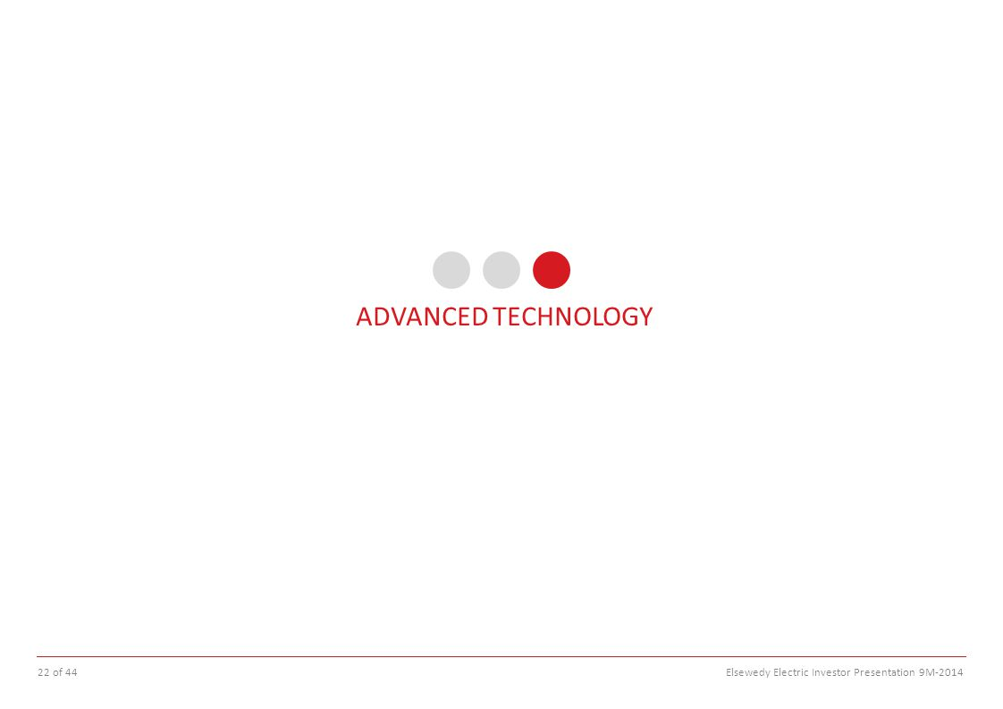 ADVANCED TECHNOLOGY 22 of 44 Elsewedy Electric Investor Presentation 9M-2014