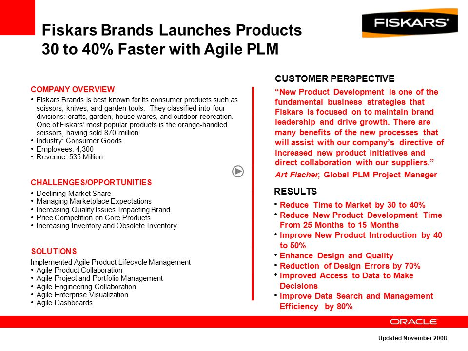 "Fiskars Brands Launches Products 30 to 40% Faster with Agile PLM CUSTOMER PERSPECTIVE ""New Product Development is one of the fundamental business stra"