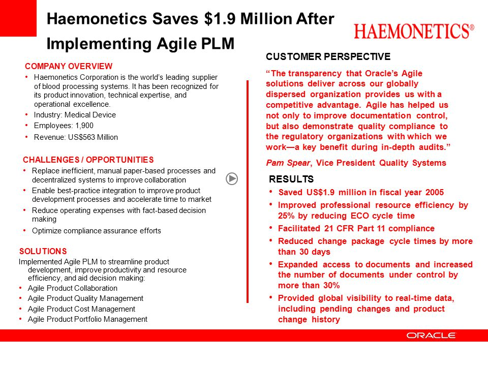 Haemonetics Saves $1.9 Million After Implementing Agile PLM CHALLENGES / OPPORTUNITIES Replace inefficient, manual paper-based processes and decentral