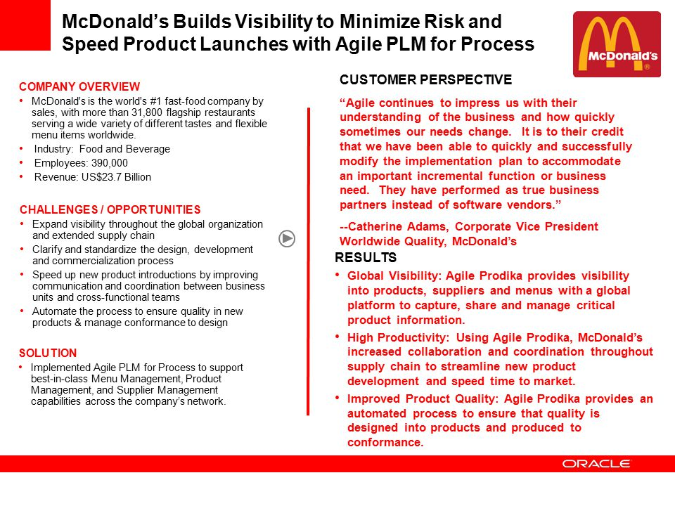 "McDonald's Builds Visibility to Minimize Risk and Speed Product Launches with Agile PLM for Process CUSTOMER PERSPECTIVE ""Agile continues to impress u"