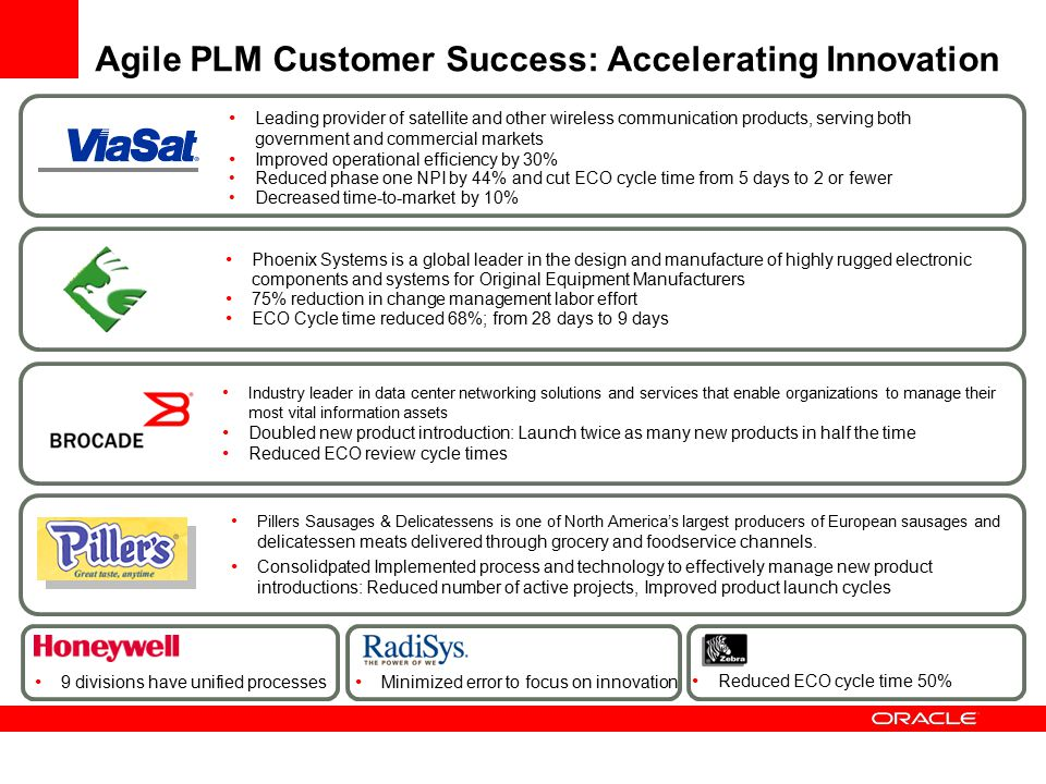 Agile PLM Customer Success: Accelerating Innovation Leading provider of satellite and other wireless communication products, serving both government a