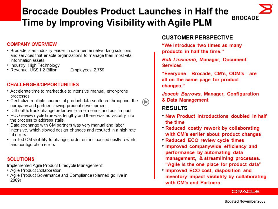"Brocade Doubles Product Launches in Half the Time by Improving Visibility with Agile PLM CUSTOMER PERSPECTIVE ""We introduce two times as many products"
