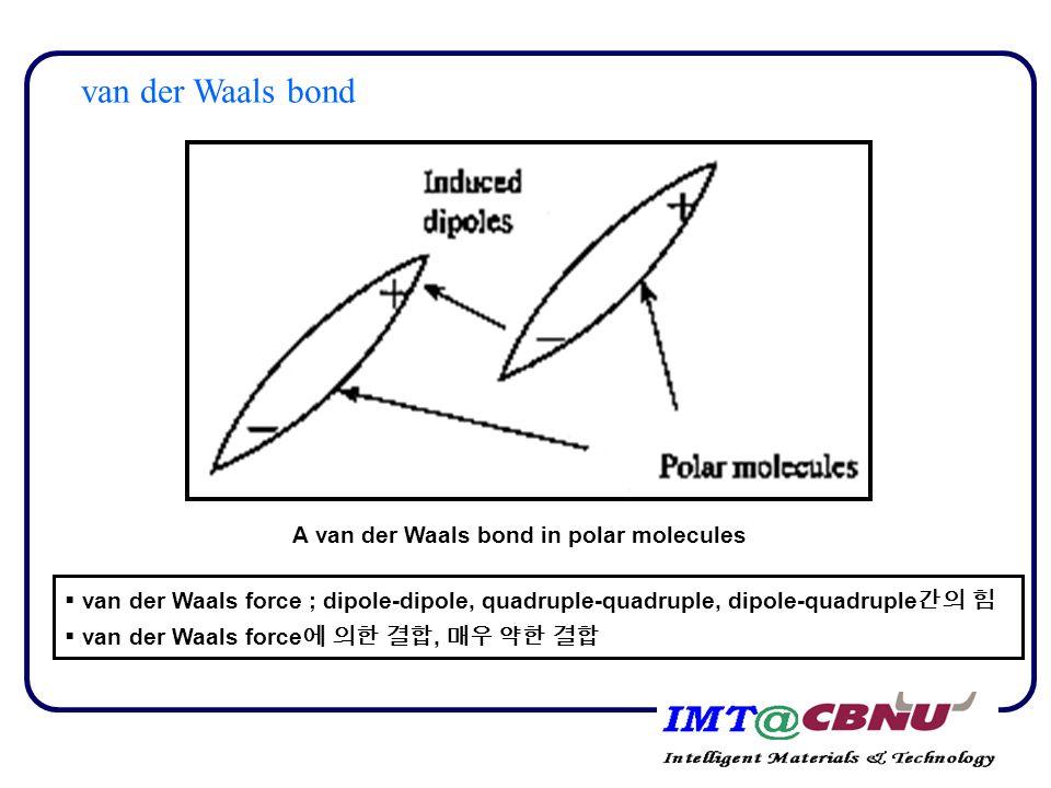 A van der Waals bond in polar molecules  van der Waals force ; dipole-dipole, quadruple-quadruple, dipole-quadruple 간의 힘  van der Waals force 에 의한 결합, 매우 약한 결합 van der Waals bond