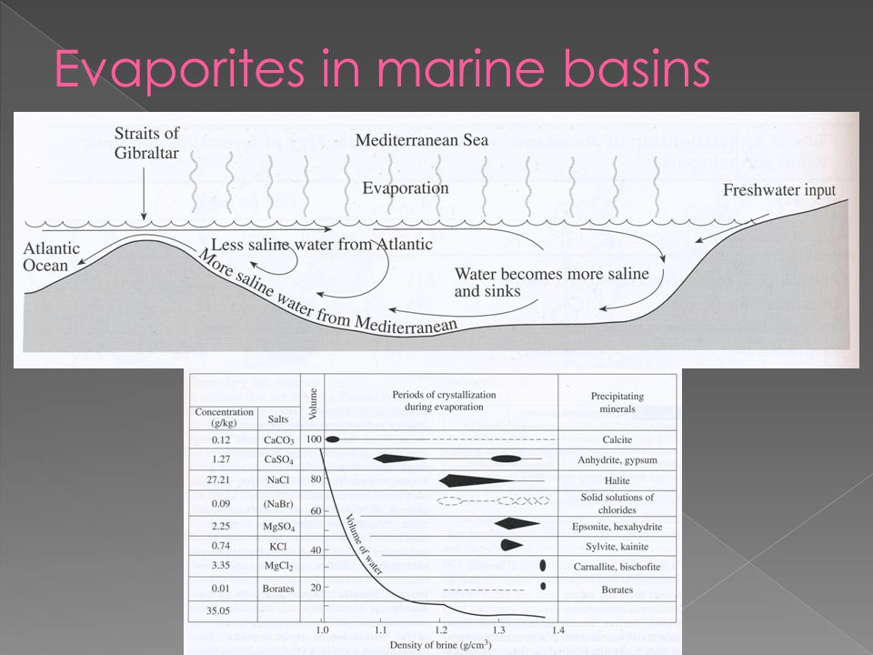 Evaporites in marine basins