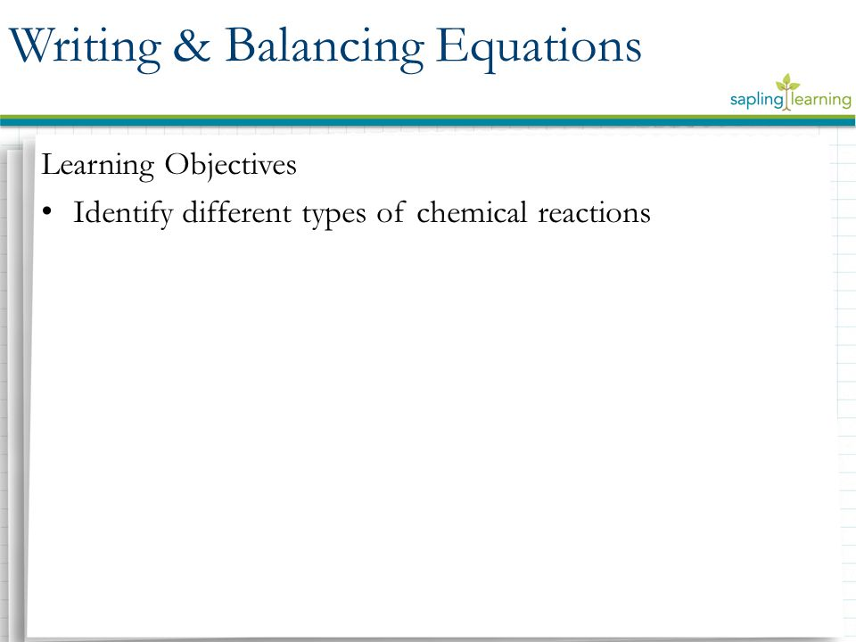 Synthesis reaction – a reaction in which two or more reactants combine to form one product Decomposition reaction – a reaction in which one reactant breaks down into two or more products Types of Reactions