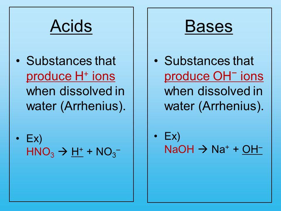 Acids Substances that produce H + ions when dissolved in water (Arrhenius).