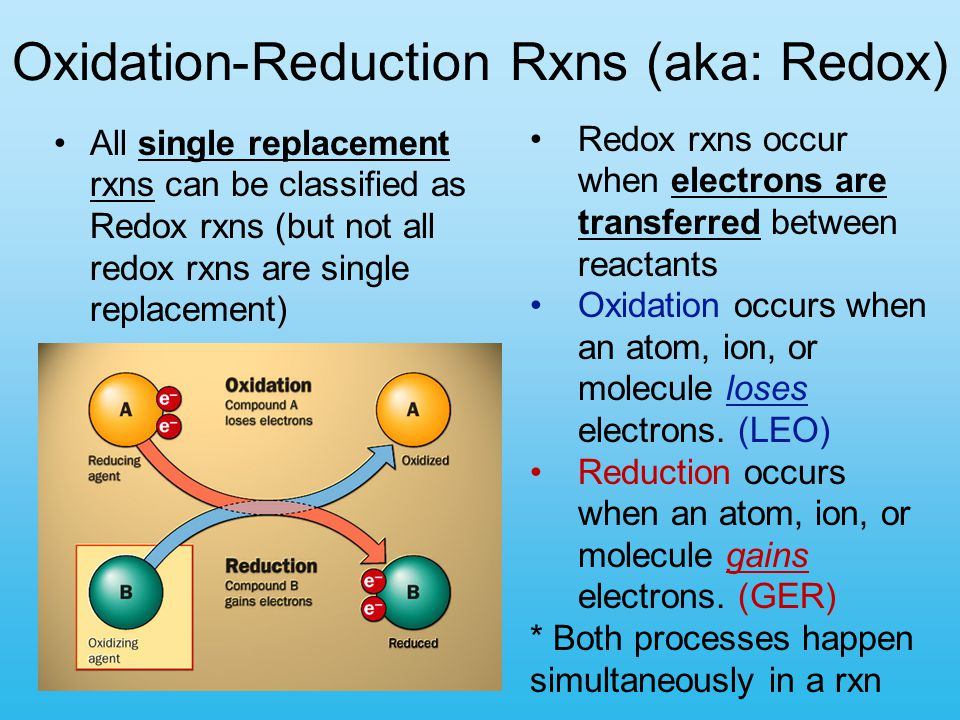 Oxidation-Reduction Rxns (aka: Redox) All single replacement rxns can be classified as Redox rxns (but not all redox rxns are single replacement) Redo