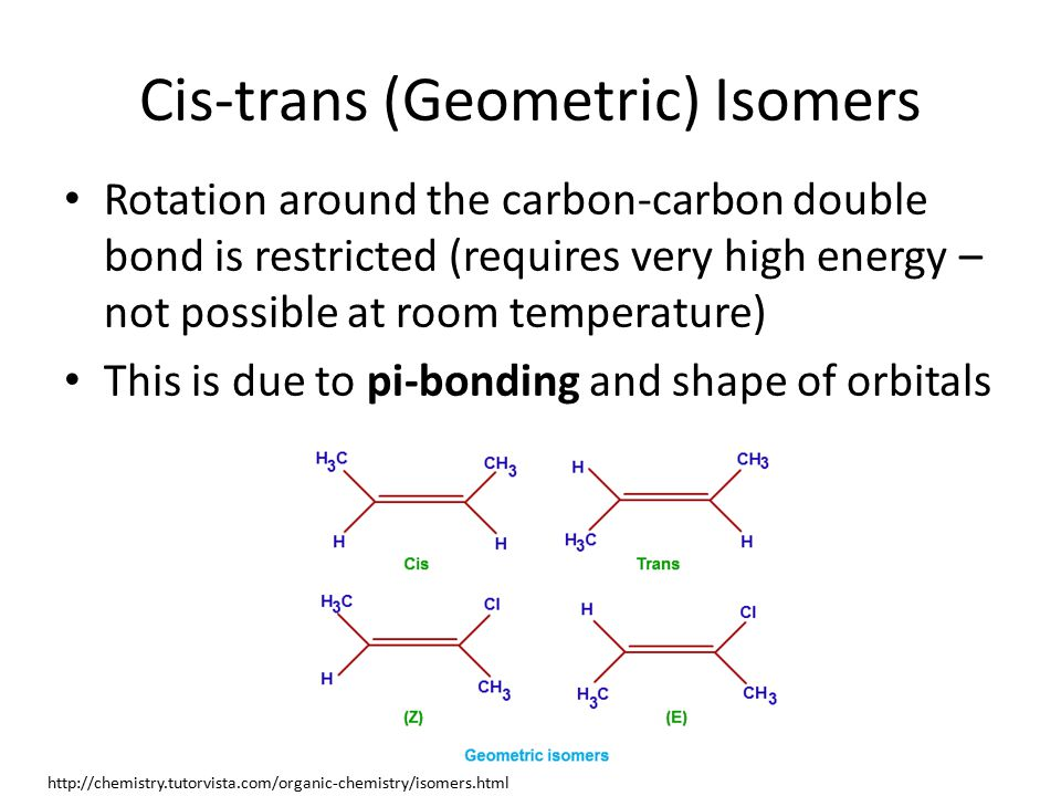 Cis-trans (Geometric) Isomers Rotation around the carbon-carbon double bond is restricted (requires very high energy – not possible at room temperature) This is due to pi-bonding and shape of orbitals http://chemistry.tutorvista.com/organic-chemistry/isomers.html