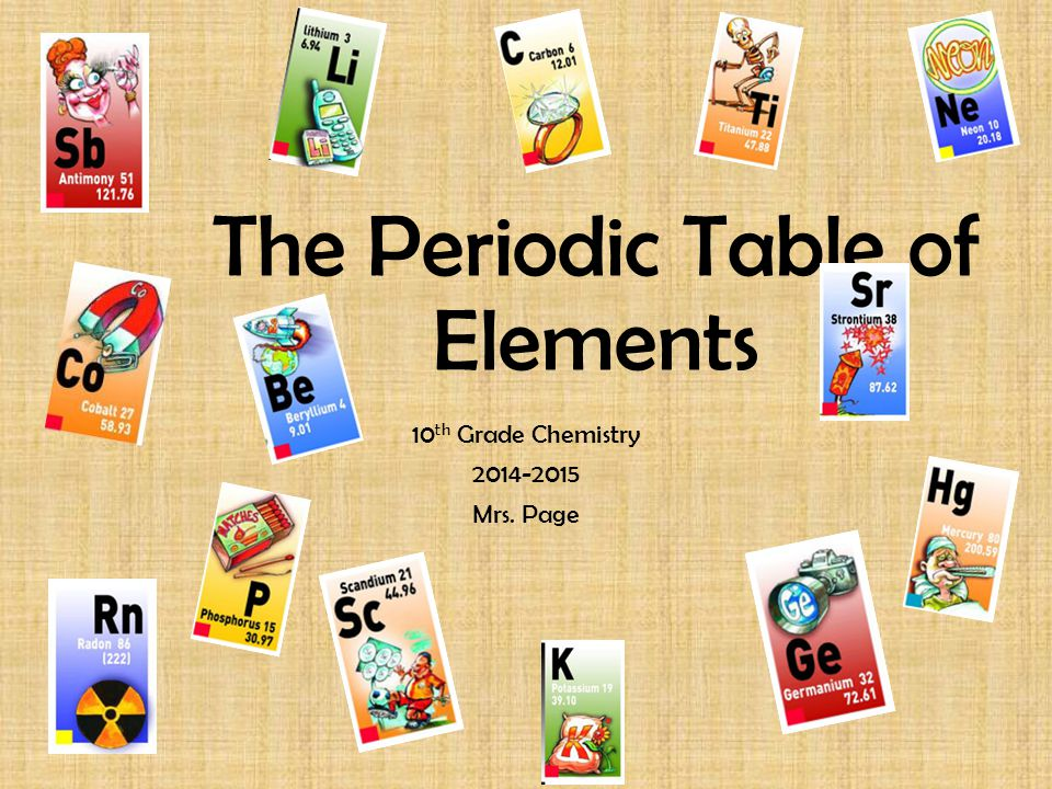 The Periodic Table of Elements 10 th Grade Chemistry 2014-2015 Mrs. Page