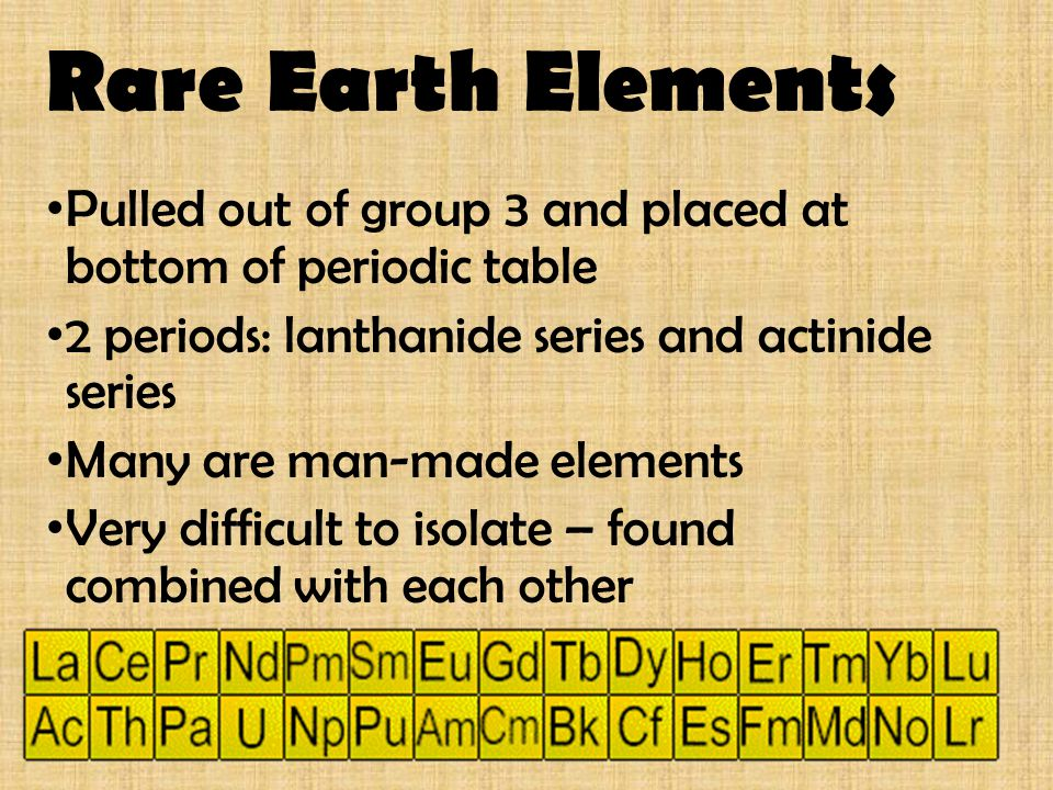 Rare Earth Elements Pulled out of group 3 and placed at bottom of periodic table 2 periods: lanthanide series and actinide series Many are man-made el