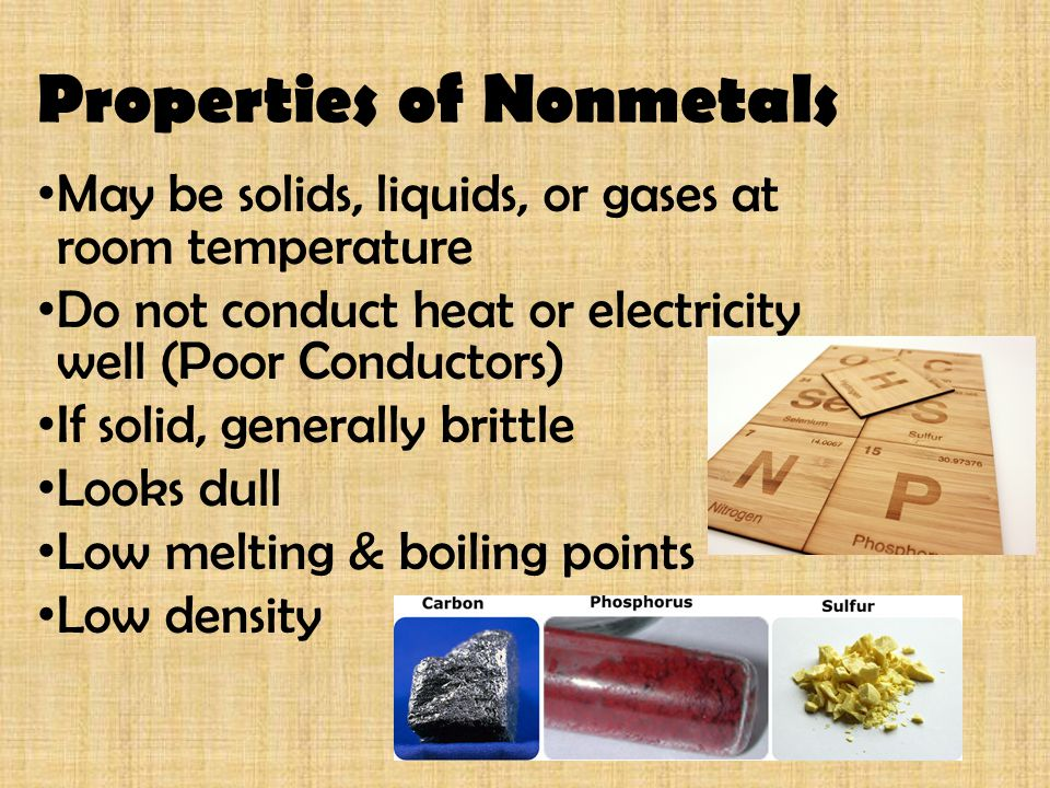 Metalloids Share properties of both metals and non-metals Semi-conductors – insulate and conduct (used in computer chips)