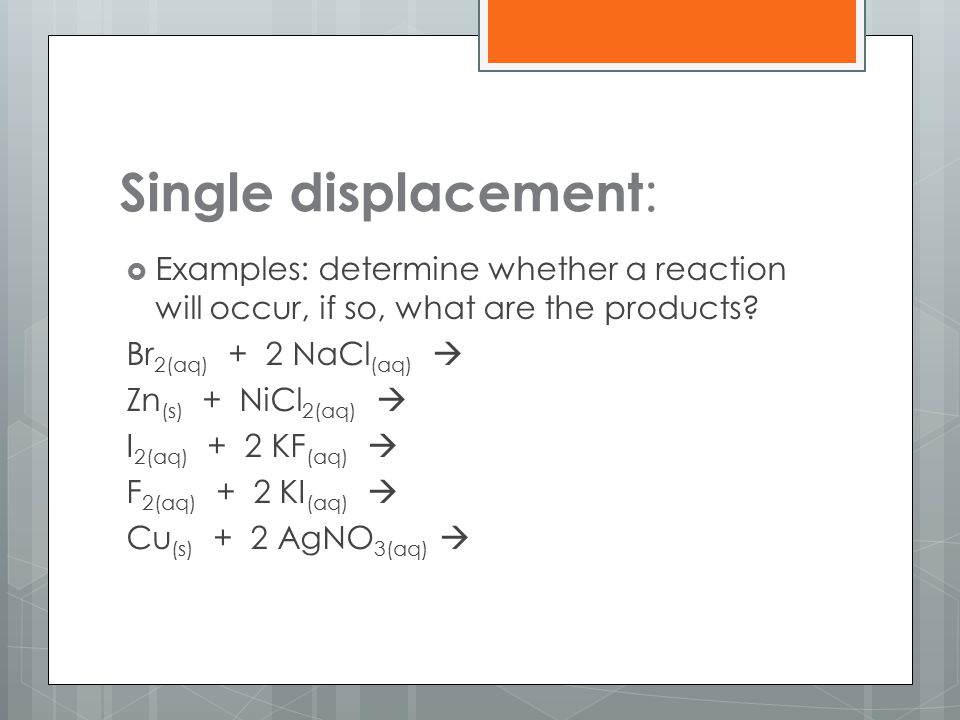 Single displacement :  Examples: determine whether a reaction will occur, if so, what are the products? Br 2(aq) + 2 NaCl (aq)  Zn (s) + NiCl 2(aq)