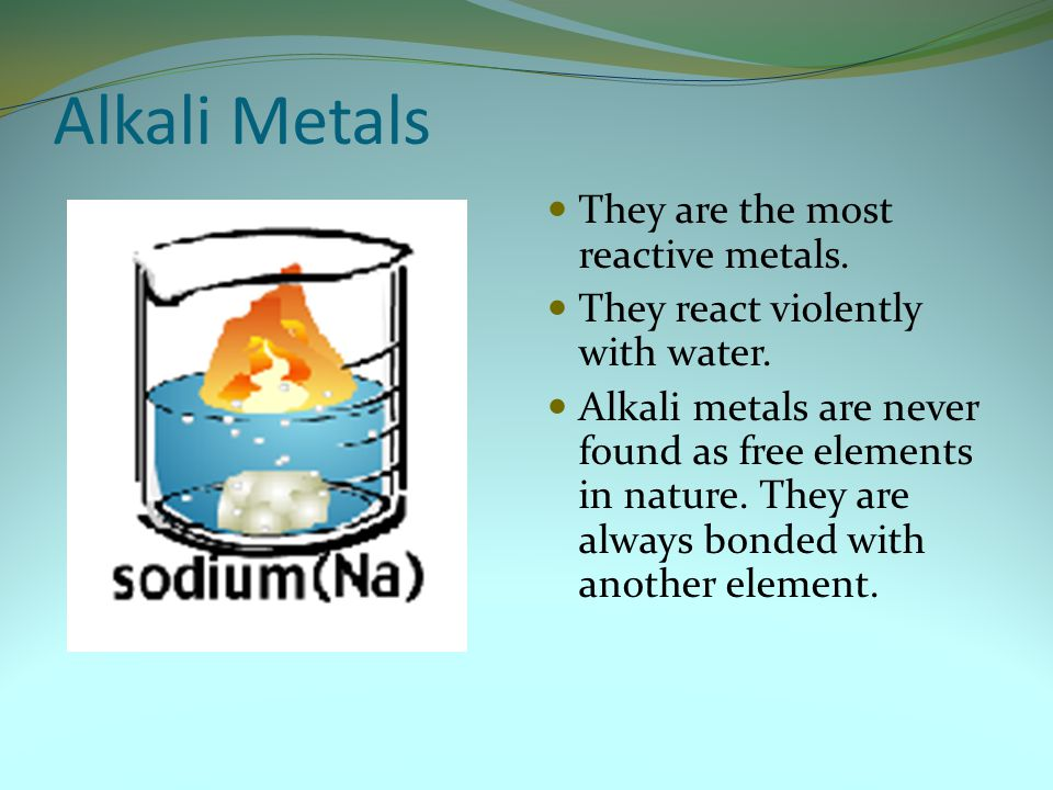 Alkali Metals They are the most reactive metals. They react violently with water. Alkali metals are never found as free elements in nature. They are a