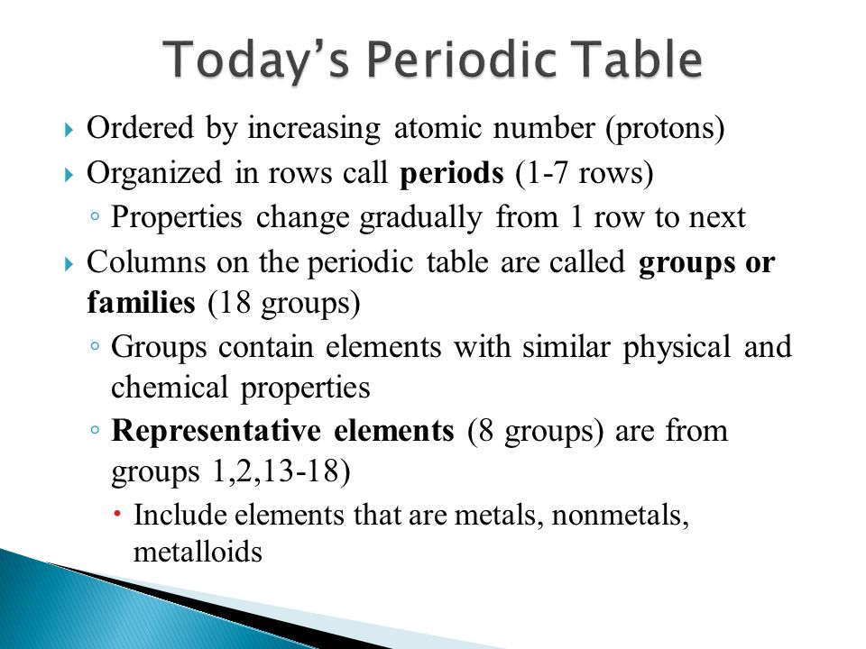  Ordered by increasing atomic number (protons)  Organized in rows call periods (1-7 rows) ◦ Properties change gradually from 1 row to next  Columns