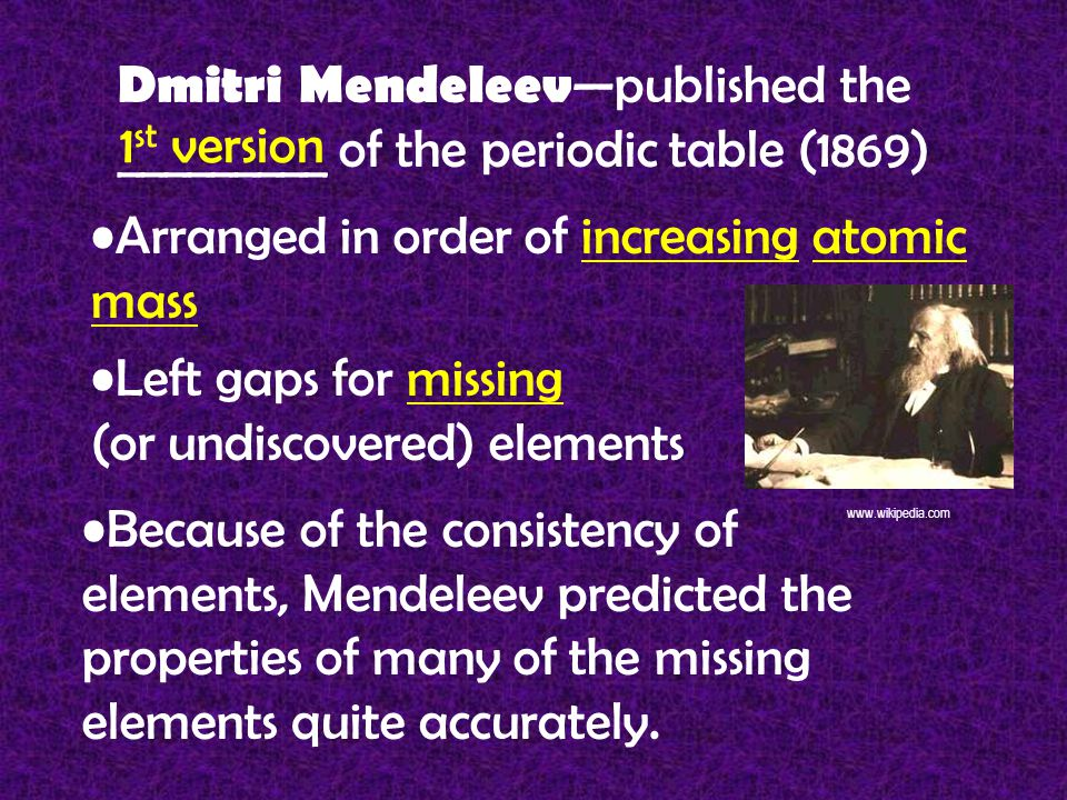 Dmitri Mendeleev —published the _________ of the periodic table (1869) 1 st version Arranged in order of increasing atomic mass Left gaps for missing (or undiscovered) elements Because of the consistency of elements, Mendeleev predicted the properties of many of the missing elements quite accurately.