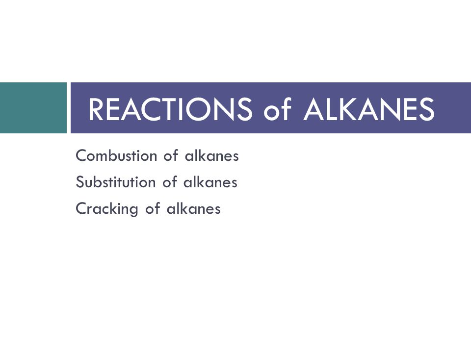 Combustion of alkanes Substitution of alkanes Cracking of alkanes REACTIONS of ALKANES