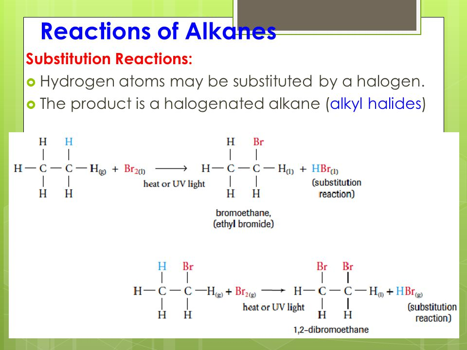 Reactions of Alkanes Substitution Reactions:  Hydrogen atoms may be substituted by a halogen.