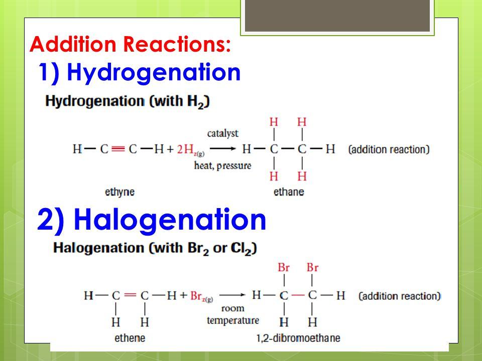 3) Hydrohalogenation 4) Hydration Addition Reactions: