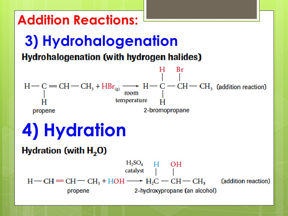 3) Hydrohalogenation 4) Hydration Addition Reactions: