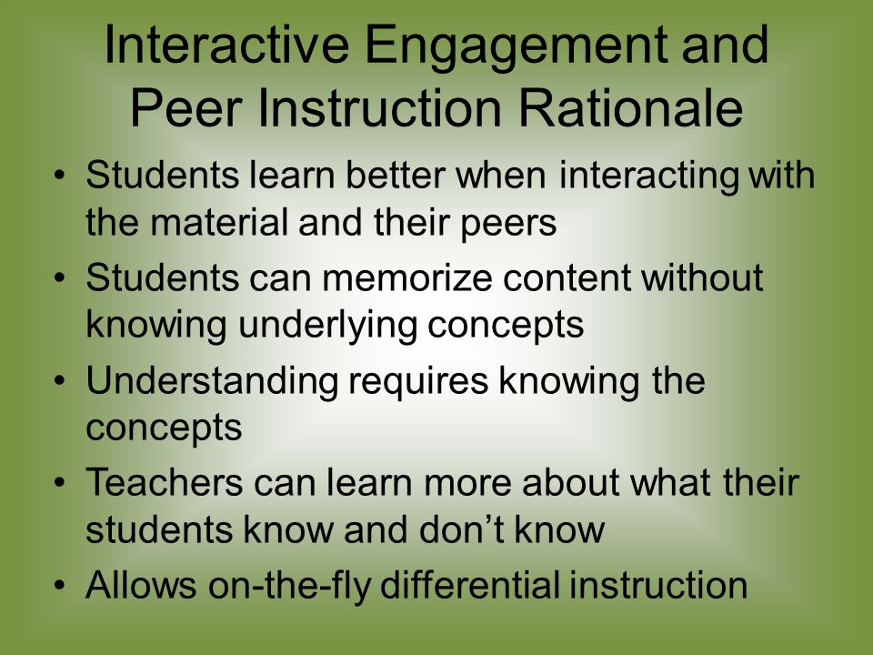 Peer Instruction CD Contents ConcepTests ppt files by topic Interactive Teaching DVD promo movie FCI.pdf Force Concept Inventory MBT.pdf Mechanics Baseline Test Questionnaires.pdf (Questionnaires from Chapter 3 and Chapter 9 RQ.pdf Reading Quizzes) CT.pdf ConcepTests CEQ.pdf Conceptual Exam Questions FlashCards.pdf