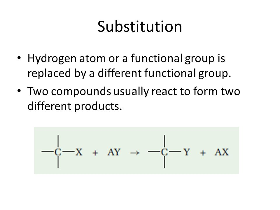 Substitution Hydrogen atom or a functional group is replaced by a different functional group. Two compounds usually react to form two different produc