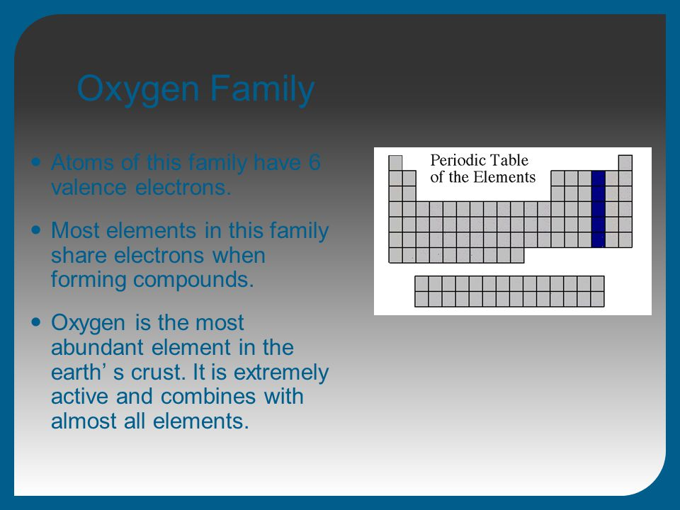 Oxygen Family Atoms of this family have 6 valence electrons. Most elements in this family share electrons when forming compounds. Oxygen is the most a