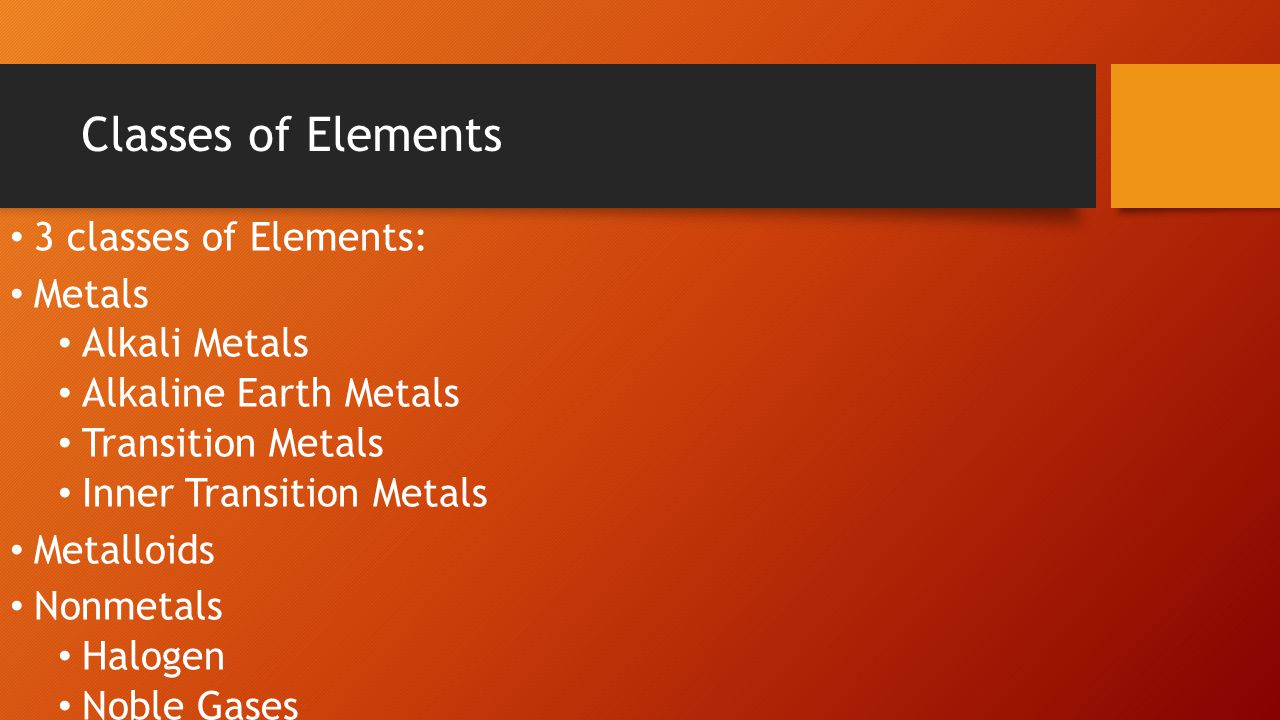 Classes of Elements 3 classes of Elements: Metals Alkali Metals Alkaline Earth Metals Transition Metals Inner Transition Metals Metalloids Nonmetals Halogen Noble Gases