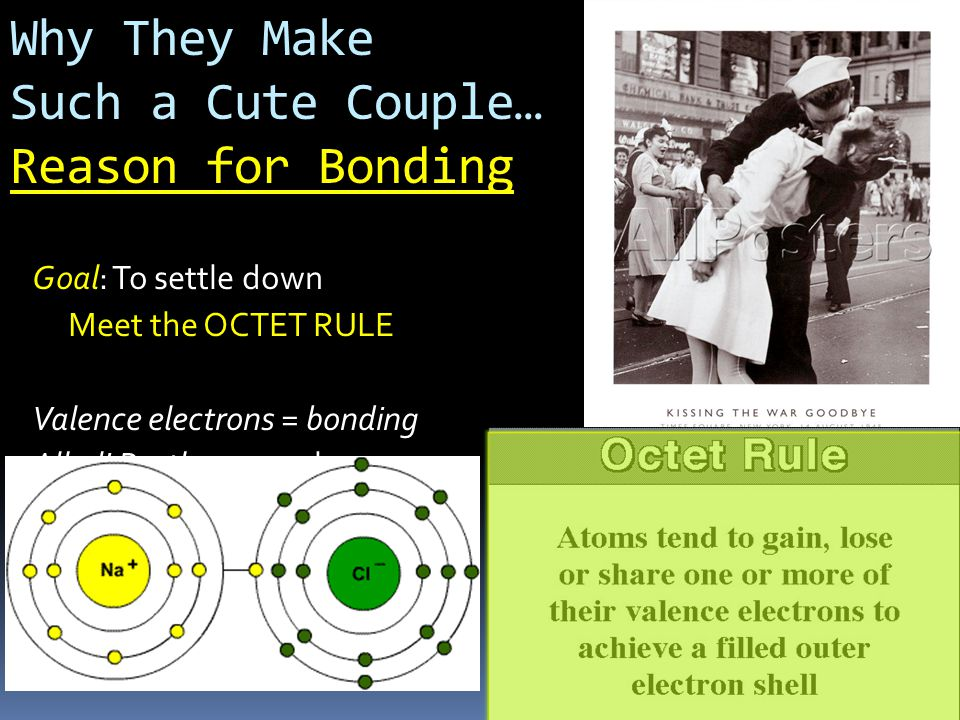 Why They Make Such a Cute Couple… Reason for Bonding Goal: To settle down Meet the OCTET RULE Valence electrons = bonding Alkali Brothas = 1 valence e