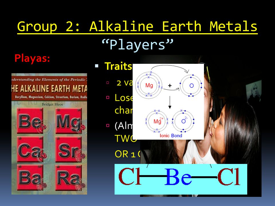 Group 2: Alkaline Earth Metals Players  Traits:  2 valence electrons  Loses 2 valence electrons  +2 charge  (Almost) always bonds with TWO halogen sistas OR 1 Group 6 nonmetal Playas: