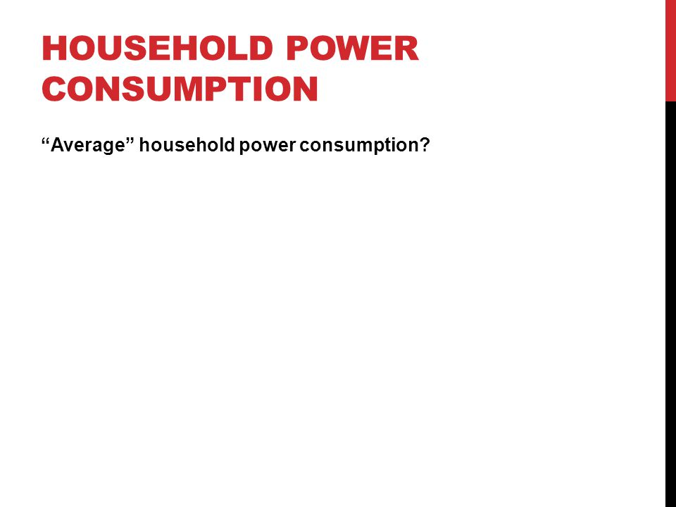 HOUSEHOLD POWER CONSUMPTION Average household power consumption