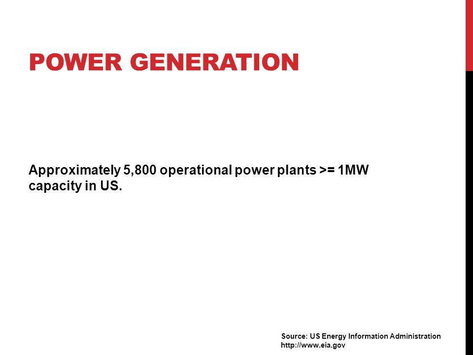 POWER GENERATION Approximately 5,800 operational power plants >= 1MW capacity in US. Source: US Energy Information Administration http://www.eia.gov