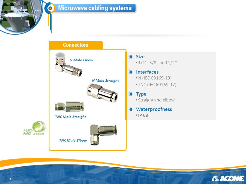 Microwave cabling systems Grounding kits 5 Type Framework type for an integrated solution Compatibility Fit both copper material Easy to install Easy, fast and reliable installation Waterproofness IP 68 Corrosion resistant