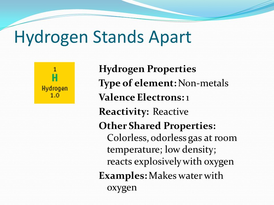 Hydrogen Stands Apart Hydrogen Properties Type of element: Non-metals Valence Electrons: 1 Reactivity: Reactive Other Shared Properties: Colorless, odorless gas at room temperature; low density; reacts explosively with oxygen Examples: Makes water with oxygen