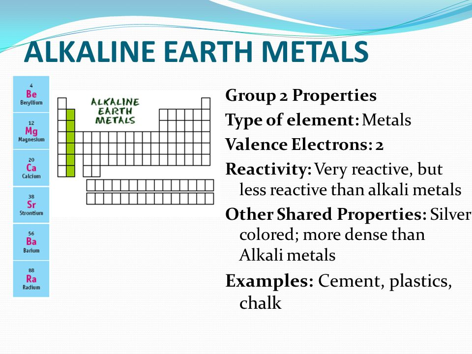 ALKALINE EARTH METALS Group 2 Properties Type of element: Metals Valence Electrons: 2 Reactivity: Very reactive, but less reactive than alkali metals Other Shared Properties: Silver colored; more dense than Alkali metals Examples: Cement, plastics, chalk