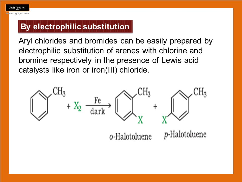 By electrophilic substitution Aryl chlorides and bromides can be easily prepared by electrophilic substitution of arenes with chlorine and bromine res