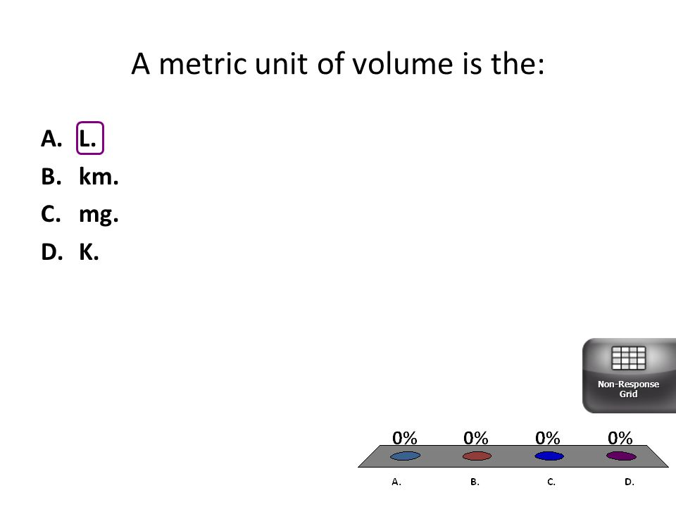 A.L. B.km. C.mg. D.K. A metric unit of volume is the: Non-Response Grid