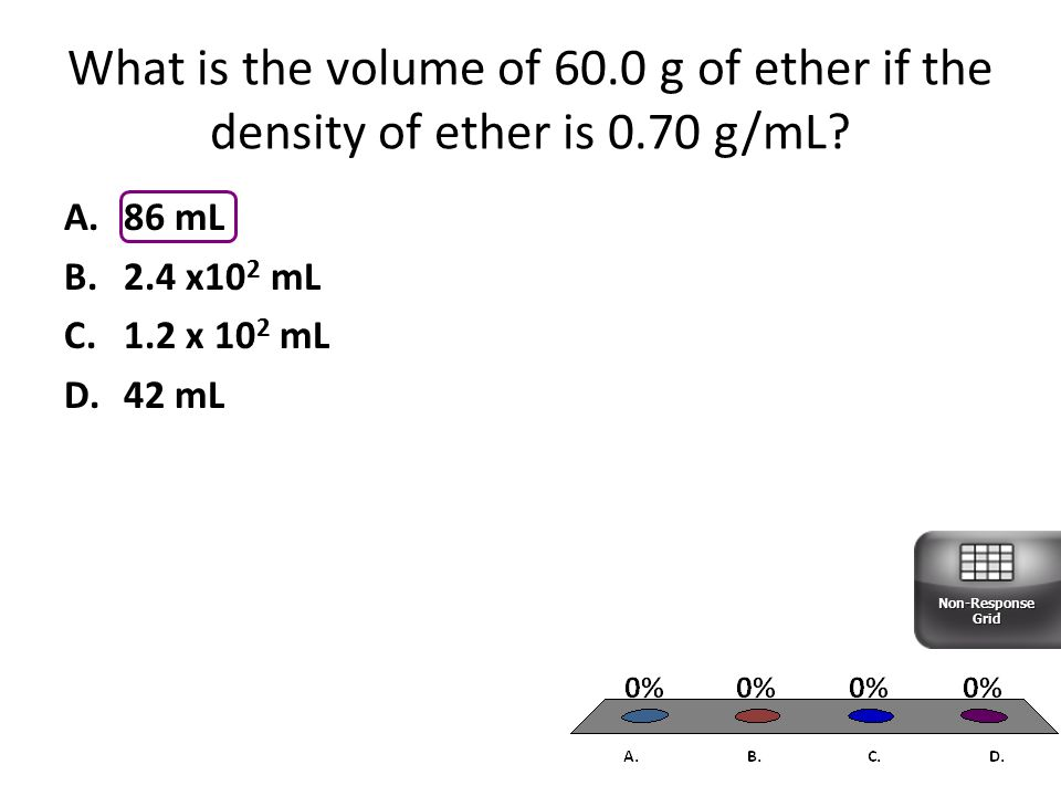 A.86 mL B.2.4 x10 2 mL C.1.2 x 10 2 mL D.42 mL What is the volume of 60.0 g of ether if the density of ether is 0.70 g/mL.