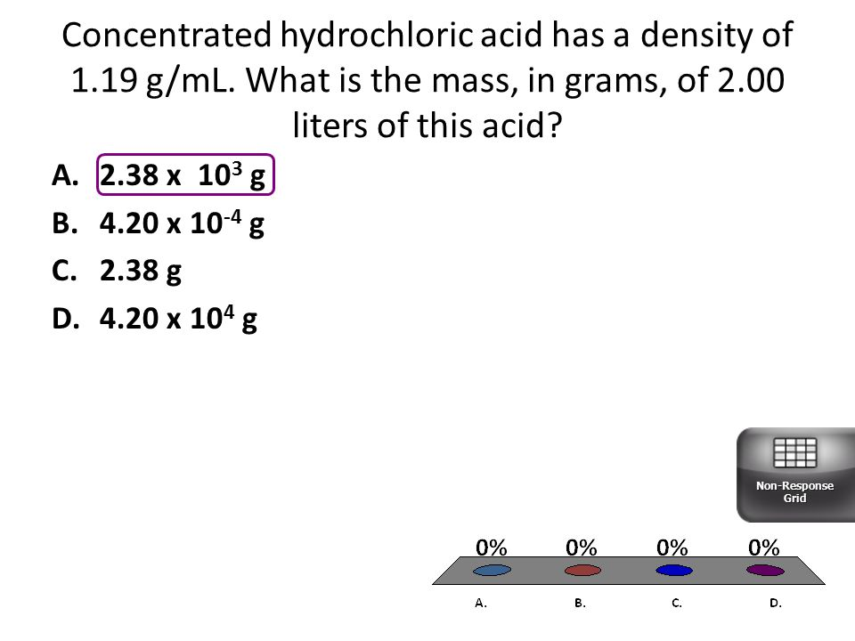 Concentrated hydrochloric acid has a density of 1.19 g/mL.